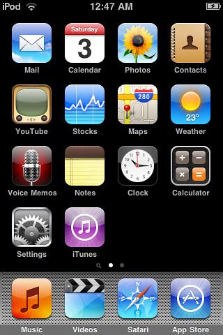 Screenshot d'un iPod sortie d'usine sous iPhone OS 3.1.1